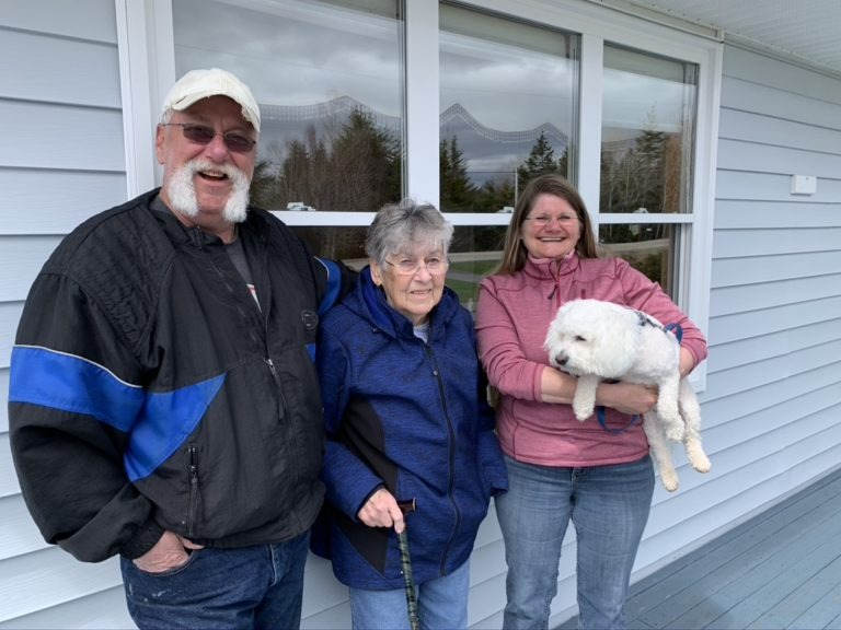 Arlene and Bill Blundon and mother-in-law Marie. Our dogs name is Buddy.   We will have lived here for two years.  We came home to retire.